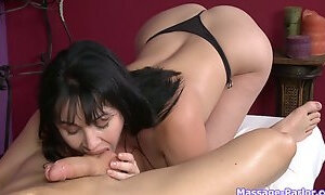 He plays with her tits while she massages him then he fucks her mouth