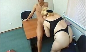 Chubby Russian woman pleasuring a young dude