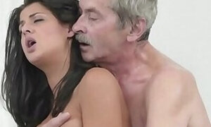 Old man drilling a brunette's tight little slit here