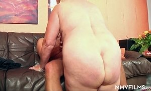 Mega busty old hooker Frosya goes wild on a hard dick