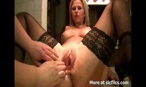 Fisting the wifes huge pussy till she orgasms