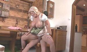 German Saggy Tits Granny Fucks Young Guy