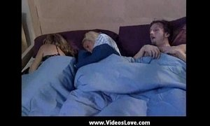 While mom sleeps brat and boyfriend play