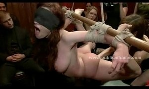 Tied busty redhead gang destruction