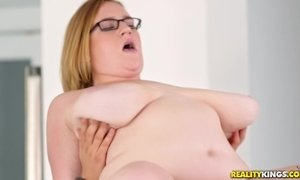 H cup tits BBW Mya Blair sucking and fucking younger guy in the kitchen AnalDin
