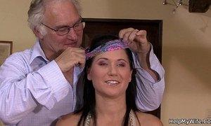 Brunette wife cuckolds her old hubby