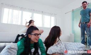 Abella, Gina and Melissa share Logans massive dick