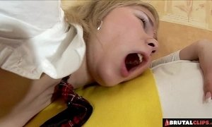 BrutalClips - Schoolgirl Patty Brown Made To Fist Herself