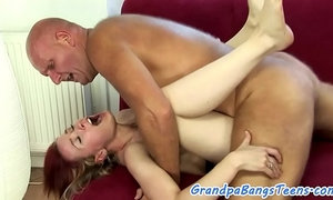 Babe slams grandpa in various poses