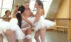 Cute ballerina Valerie Fox and her girlfriends make love in the dance studio AnySex