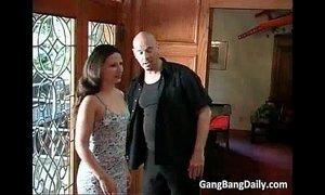 Gang bang party with hot brunette lady xVideos