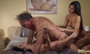Old Young Porn Teens share old man and ride his wrinkled cock swallow cum xVideos