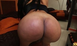 Bootyful tranny Brenda Camila shows off stretched anal hole AnySex