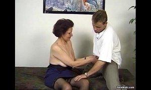 German granny enjoys threesome xVideos
