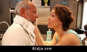 Old man fucking cheeky shorthaired teen in the kitchen xVideos