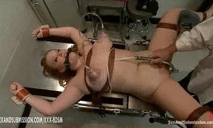 Busty blonde babe gets treatment in gynecological chair xVideos
