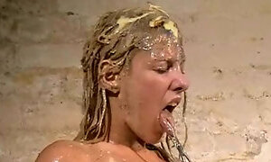 Disgusting humiliation of Crystal Lei and messy food punishment of filthy bizarre blonde in mercilessly dirt degradation and sic. Degraded, Spanking P