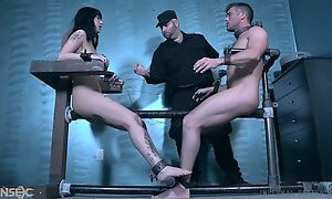Naked tied up buddy gets a BJ from submissive slender hoe Charlotte Sartre