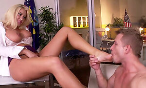 Beautiful blond bitch Summer Brielle gets her twat and feet fucked