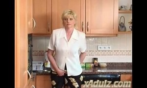Horny Blonde Granny in the Kitchen Masturbates to Orgasm with Dildo xVideos