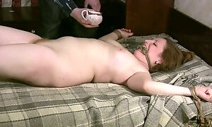 Plump tied chick Eleonora waits to be fucked rough on the bunk bed