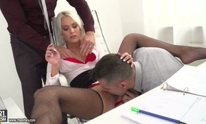 Two co-workers fuck anus and pussy of sex-appeal ladyboss Cecilia Scott AnySex