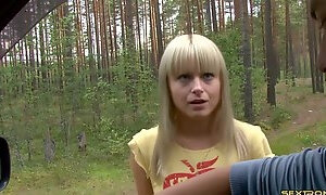 Out in the forest he pushes her against a tree and fucks her