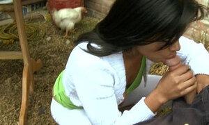 Latina Blowjob on Colombian Farm