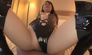 Yui Oba is a chick in a latex outfit craving to be shagged