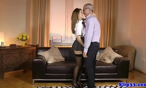 Schoolgirl amateur doggystyled by old man xVideos