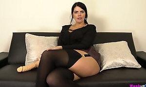 Curvy chubby temptress Kylie K plays with her big dildo toy