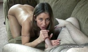 Busty hot wife Leeanna Heart is giving an awesome blowjob