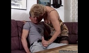 Horny blonde granny in stockings sucking xVideos