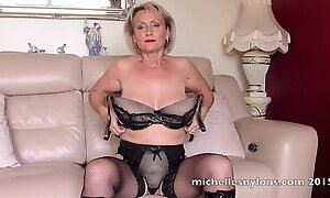 Naughty cougar Michelle finally gets to finger her wet pussy