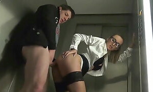 Skinny Secretary with Big Tits Gets Fucked in Elevator