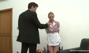 Blindedfoled chick gets bound and fucked in ass by a group of guys