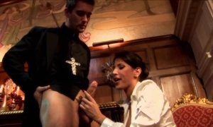 Salacious brunette seduces priest to fuck her hard AnalDin