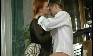 Mature seduces a young barman into serving her old pussy AnalDin