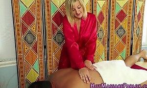 Blonde masseuse licked