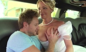 Bride in white dress gets anal fucked