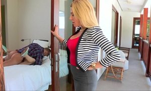 Beautiful blonde mom watches her daughter fuck Beeg