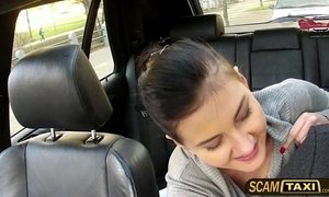 Pretty hot brunette Lily sucks and fucks on back seat of the cab xVideos